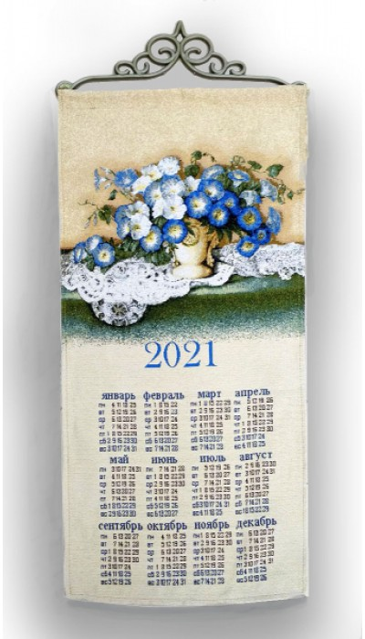 """Календарь из гобелена """"Букет_2021_33х70"""""""