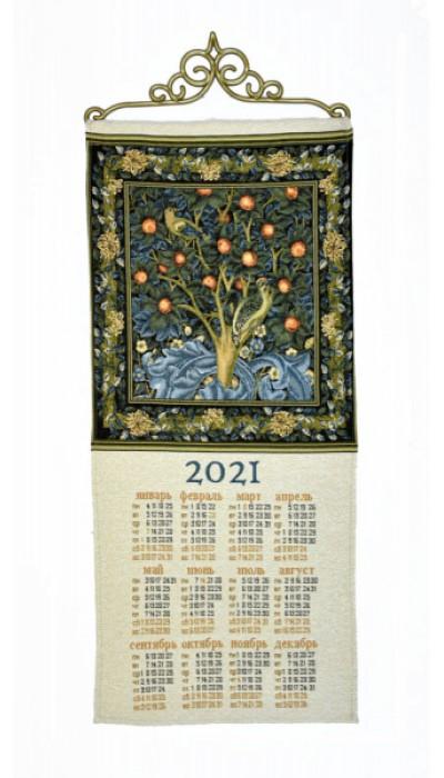 """Календарь из гобелена """"Дятел-У.Моррис_33х70"""""""